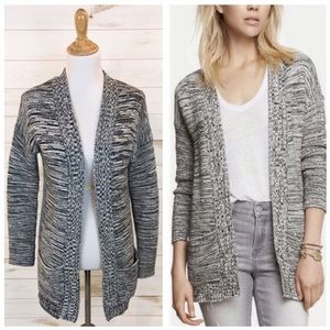 Express Chunky Knit Open Cardigan Marled Gray